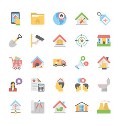 Flat icons collection of real estate vector