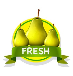 Fresh food label with pears vector