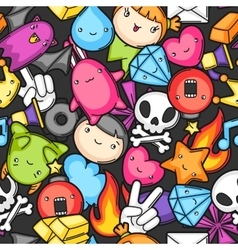 Game kawaii seamless pattern Cute gaming design vector