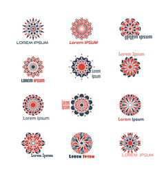 Geometric logo set with circular mosaic vector