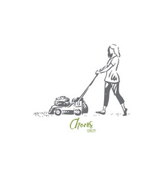 Girl mowing lawn concept sketch isolated vector