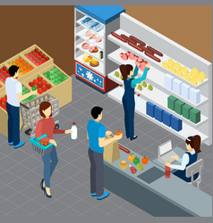 grocery store isometric composition vector image