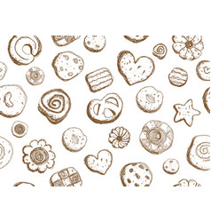 Hand drawn cookies pattern seamless design vector