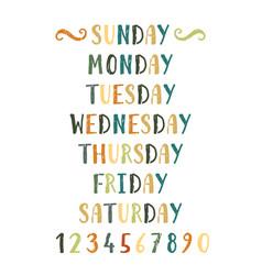 Handwritten grunge colorful days week vector