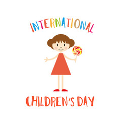 happy childrens day greeting card with girl vector image