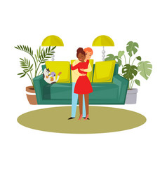 happy family young couple hugging and cat on sofa vector image
