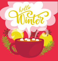 Hello winter greeting card vector