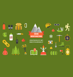Hiking mountainering pictograph vector