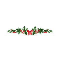 Holly holiday christmas decor vector