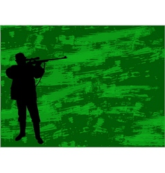 Hunter on the camouflage background vector