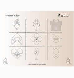 I love you womens doodle 9 icon in set of womens vector