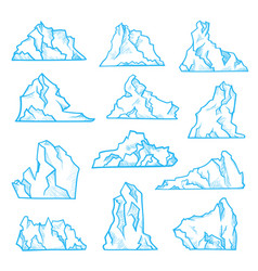 Iceberg sketch set north climate and environment vector
