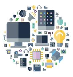 Icons shape flat technology vector