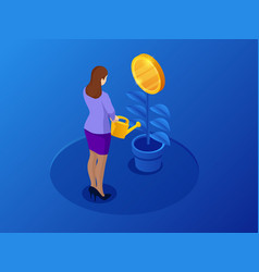 isometric coins growth or growing money and vector image