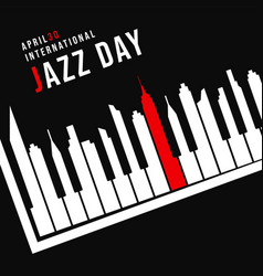 jazz day poster of piano as city buildings vector image