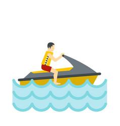 Jet ski rider icon flat style vector