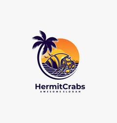 Logo hermit crabs land scape vintage badge style vector