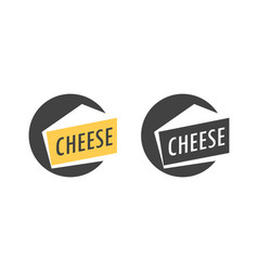 Logo with piece of italian parmesan cheese in vector