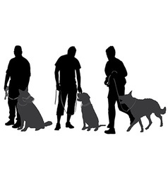 Man walking his dog silhouette vector