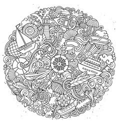 marine hand drawn doodles vector image