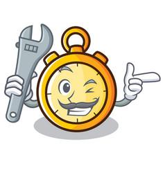 Mechanic chronometer character cartoon style vector