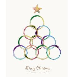 Merry christmas circle tree watercolor greeting vector