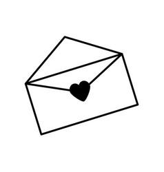 message envelope romantic card outline vector image