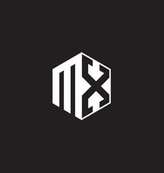 mx logo monogram hexagon with black background vector image