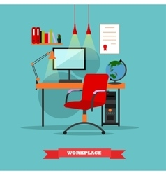 Office workplace interior work at home concept vector
