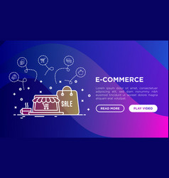 online shopping concept with thin line icons vector image