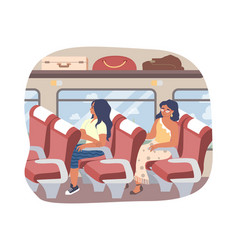 passengers sitting inside bus flat vector image