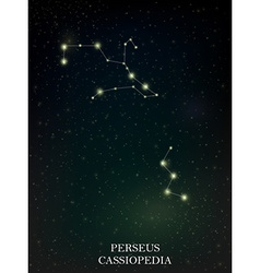 Perseus and Cassiopedia constellation vector image