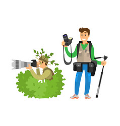Photo reporter in bush photojournalist vector