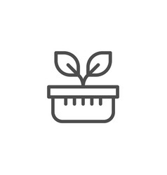 plant pot line icon vector image