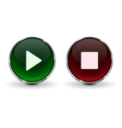 play and stop buttons green and red 3d icons vector image