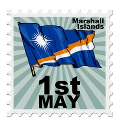 post stamp of national day of Marshall Islands vector image