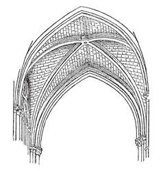 Quadripartite vault webs vintage engraving vector