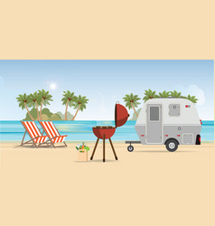 retro caravan on the beach and picnic with vector image