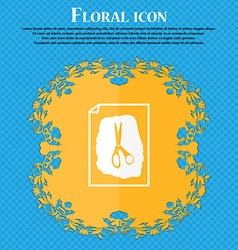 Rock scissors paper poster icon floral flat design vector