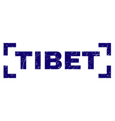 Scratched textured tibet stamp seal inside corners vector