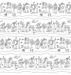 Seamless pattern with abstract town street vector