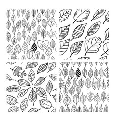 seamless patterns of autumn leaves vector image