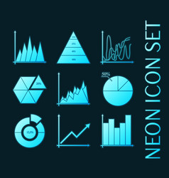 set business charts statistic diagrams icons vector image