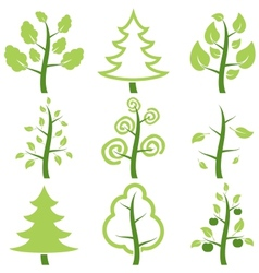 Set icons trees vector image