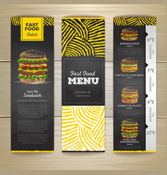 Set of vintage chalk drawing fast food menu banner vector image