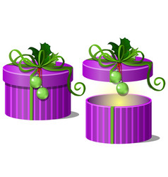 set ornate gift boxes purple color with lids vector image