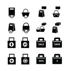 Shopping bags set bubble talk vector