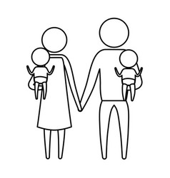 sketch silhouette of pictogram parents with a baby vector image vector image