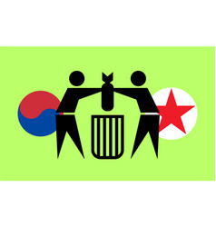South korea and north korea destroy mines vector
