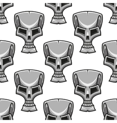 Stylized modern silver skull seamless pattern vector image